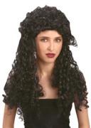 Damenperücke schwarz mit Ringellöckchen