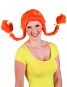 Damenperücke mit orangenen Zöpfen