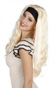 Langhaar-Perücke blond mit Stirnband für Damen