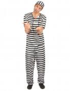 Sträflings-Kostüm für Erwachsene Gefangener schwarz-weiss