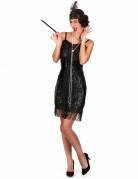20er-Jahre Damenkostüm Pailletten schwarz