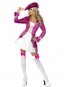 Barockes Piratenkostüm für Damen aus Samt pink-weiß