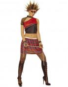 Schwarz oder rotes Punk-Kostüm für Damen