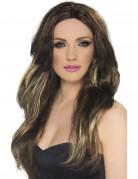 Sexy Langhaar-Damenperücke mit Strähnen braun-blond