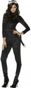 Schwarzes Katzen-Kostüm Halloween für Damen