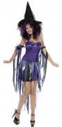 Hexen-Damenkostüm für Halloween lila-schwarz