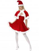 Samteffekt Weihnachtsfrau-Kostüm für Damen mit Umhang