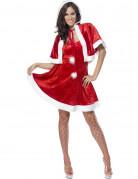 Sexy Weihnachts-Damenkostüm weiss-rot