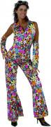 Hippie-Kostüm mit Blumenmotiven für Damen