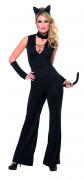 Schwarzes Katzenkostüm für Damen