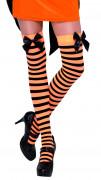 Schwarz-orange gestreifte Halloween Strümpfe für Erwachsene
