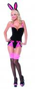 Sexy schwarz-rosanes Hasenkostüm für Damen
