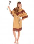 Indianerinnenkostüm für Damen mit Fransen braun-beigefarben