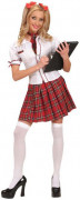 Schulmädchen-Damenkostüm schwarz-rot-weiss