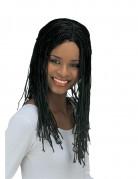 Schwarze Perücke mit Zöpfen für Damen