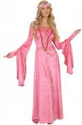 Mittelalterliches Kostüm für Damen pink-weiss-lila