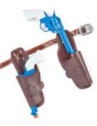 Pistolenset für Cowboys Waffen-Spielzeug braun-blau-weiss