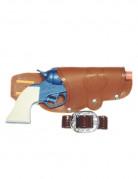 Cowboy-Pistole mit Gürtel aus Kunststoff Spielzeug blau-braun-weiss