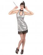 20er Jahre Retro-Kostüm für Damen silber