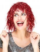 Metallic-Perücke mit Lametta-Fransen für Erwachsene rot