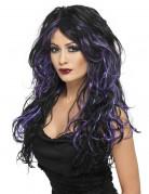 Schwarz-violette Langhaar-Perücke für Damen