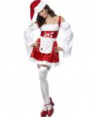Veloureffekt Damenkostüm Weihnachtsfrau mit Schürze