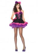 Sexy Katzenkostüm mit Korsett für Damen schwarz-rosa-violett