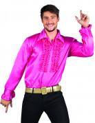 Disco-Hemd pink für Herren mit Rüschen 70er