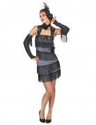 Glamouröses Charleston-Kostüm für Damen grau-schwarz