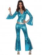 Silber-blaues Disco-Kostüm für Damen