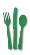 18teiliges smaragdgrünes Besteckset aus Kunststoff