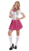 Schulmädchen-Kostüm für Damen rosa-weiss-schwarz