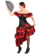 Schwarz-rote Flamenco-Tänzerin - Kostüm für Damen