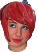 Manga Latex-Perücke mit Haarreif und Schleife für Erwachsene rot-schwarz