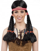 Indianerin-Perücke für Damen schwarz-weiss-rot