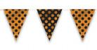 Schwarz-orange gepunktete Wimpelgirlande