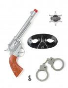Cowboy Set Spielzeug für Fasching braun-silber-schwarz