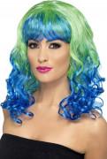Blau-grüne Locken-Perücke für Damen