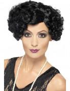 Schwarze Cabaret-Locken-Perücke für Damen