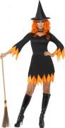 Orange-schwarzes Halloween Hexen-Kostüm für Damen