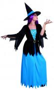Blau-rosa Halloween Hexen-Kostüm für Damen