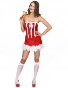 Weihnachtsfrauen-Kostüm für Damen sexy rot-weiss