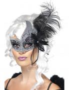 Venezianische Augenmaske schwarzer Engel mit Feder für Erwachsene