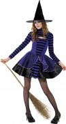 Hexen-Verkleidung Schwarz-Lila für Jugendliche Halloween