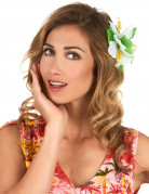 Haarklammer Hawaii mit weißen Blumen