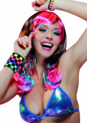 Perücke halblang Neon-Look für Frauen