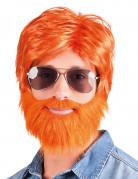 Perücke mit rotem Bart und Schnurrbart für Herren