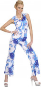 Blauer Disco-Kostüm Overall für Damen