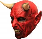 3/4 Maske Roter Dämon mit Hörnern und Gebiß - Hand bemalt