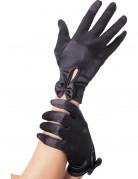 Schwarze kurze Handschuhe mit Schleife